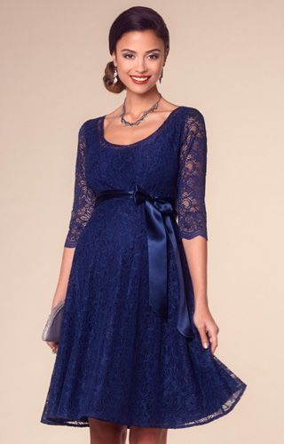 Our best-selling Freya maternity gown is now available in our sultry new colourway, Arabian Blue.