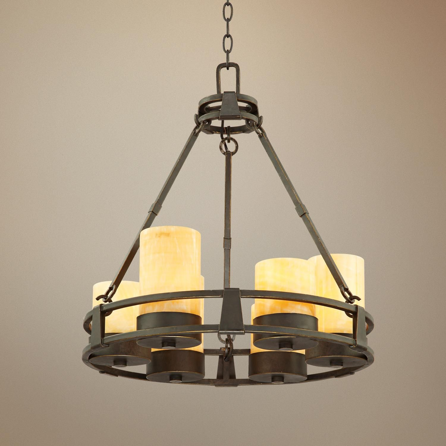 Sunset yx Stone 6 Light Faux Candle Chandelier Style K5863