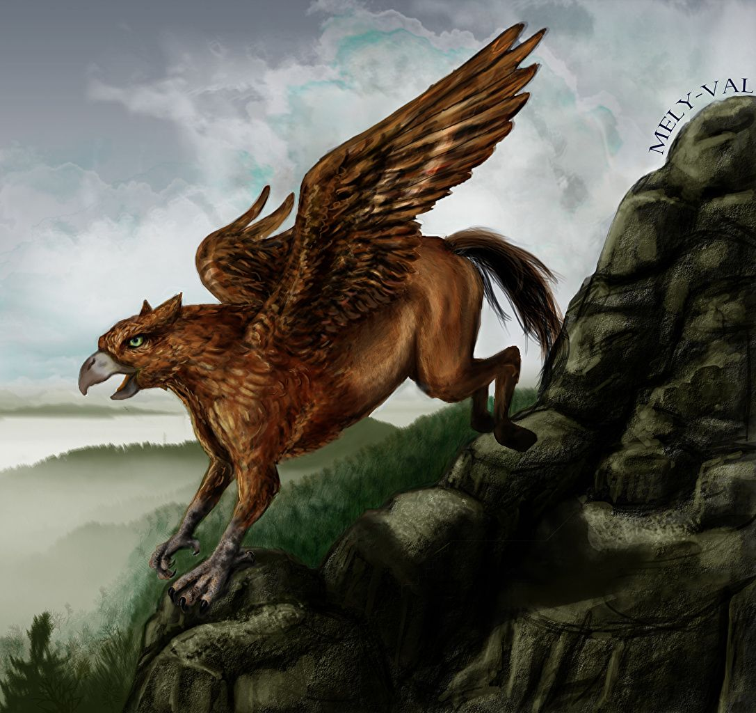 Wallpapers Hippgriff Wings Fantasy Magical Animals Lion Sculpture Creatures Art
