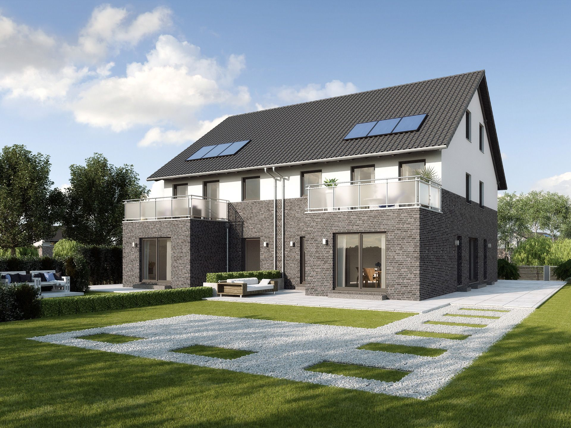 Doppelhaus monza • doppelhaus von gussek haus • fertighaus mit einliegerwohnung moderner fassaden optik