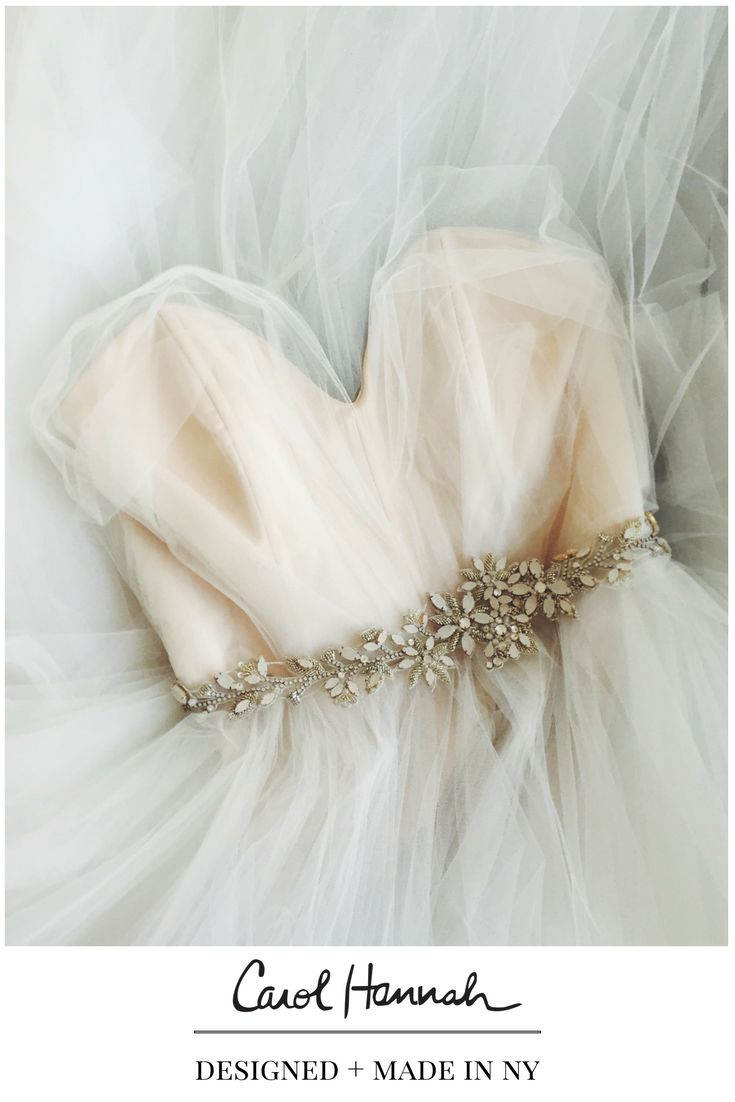 Whimsical wedding gown and bridal belt wedding accessory ideas for
