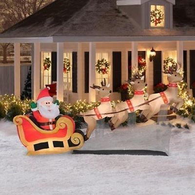 10 Airn Inflatable Santa Sleigh Reindeer Outdoor Lighted Christmas Decor