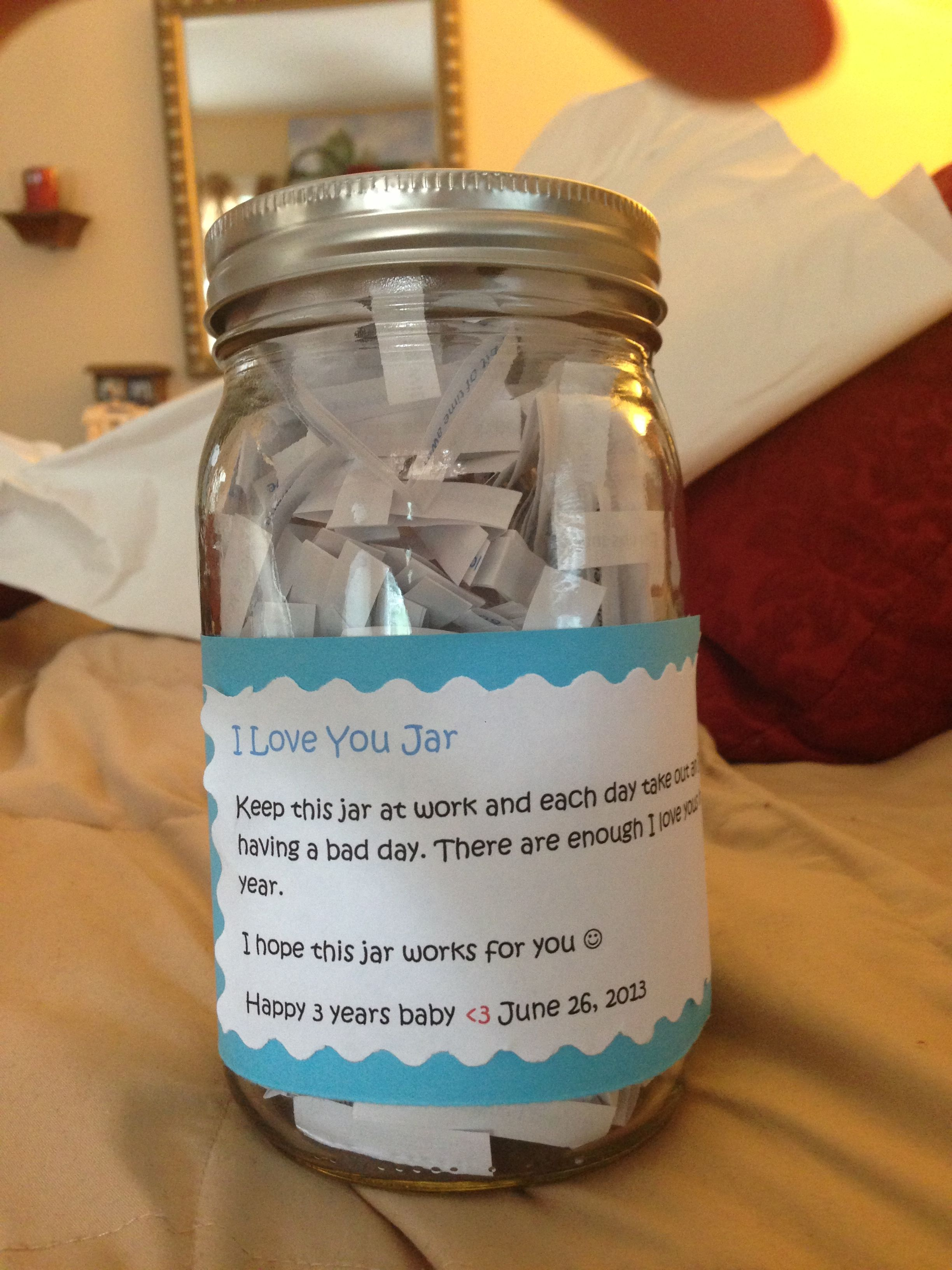 I love you jar perfect for anniversary gift fill up a jar with all