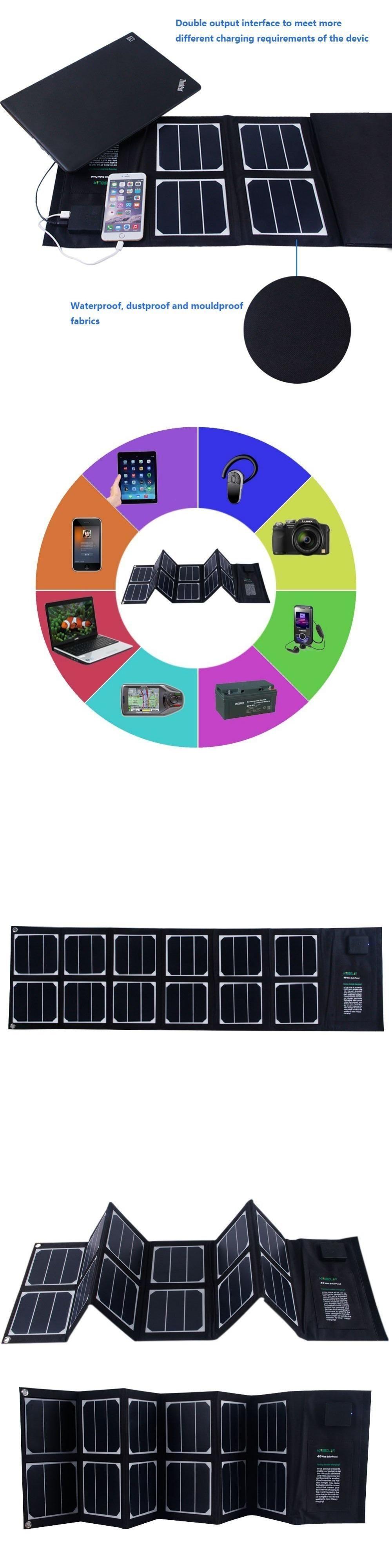 40w foldable solar panel portable solar charger dual output usb