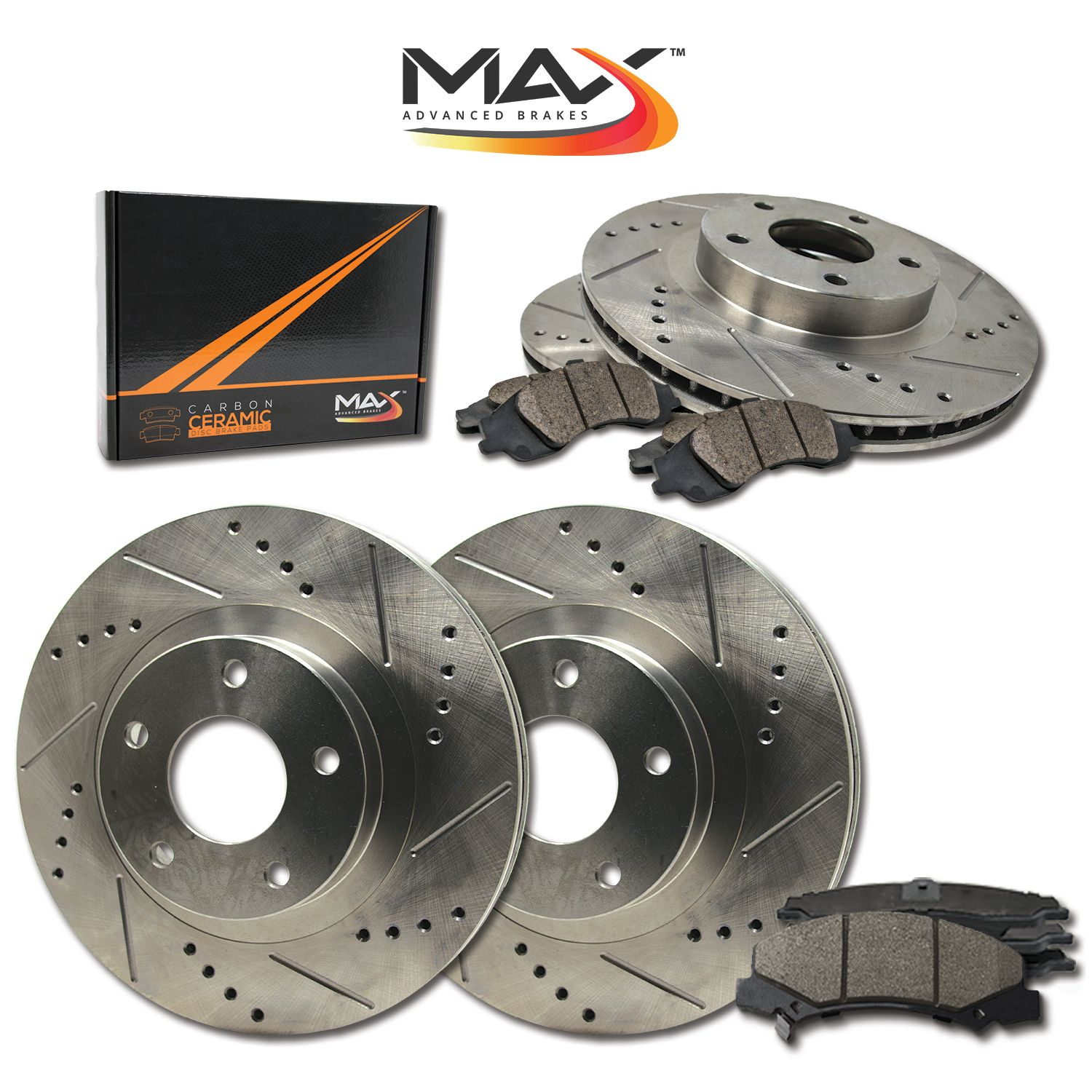 Rotors Ceramic Pads F 2014 2015 Chevy Silverado 1500 Slotted Drilled