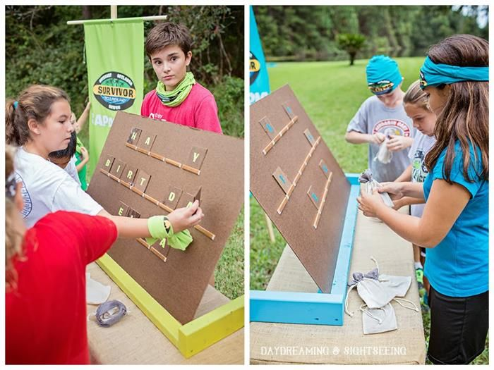 Survivor inspired party children teen party Homemade games for adults