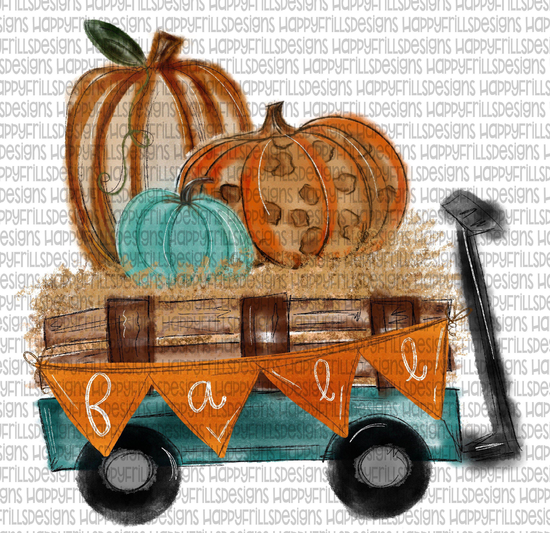 Leopard Pumpkin fall wagon Digital image png instant