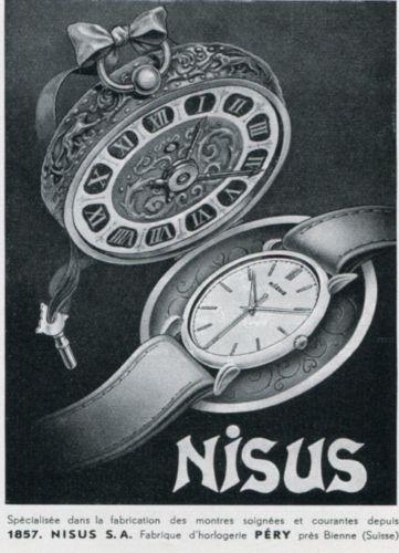 Vintage-1947-Nisus-Watch-Company-Original-1940s-Swiss-Print-Ad-Advert-Suisse