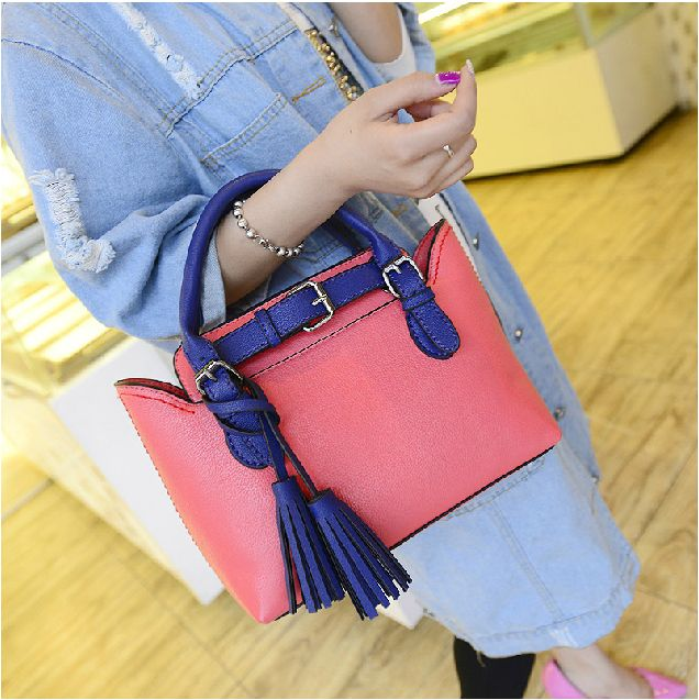 33c62d9603e2 New 2014 spring fashion casual Contrast color tassel women handbag sweet cute  candy color mini leather women messenger bag