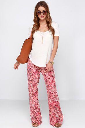 Billabong Midnight Hour Pants - Red Pants - Paisley Print Pants - $44.95