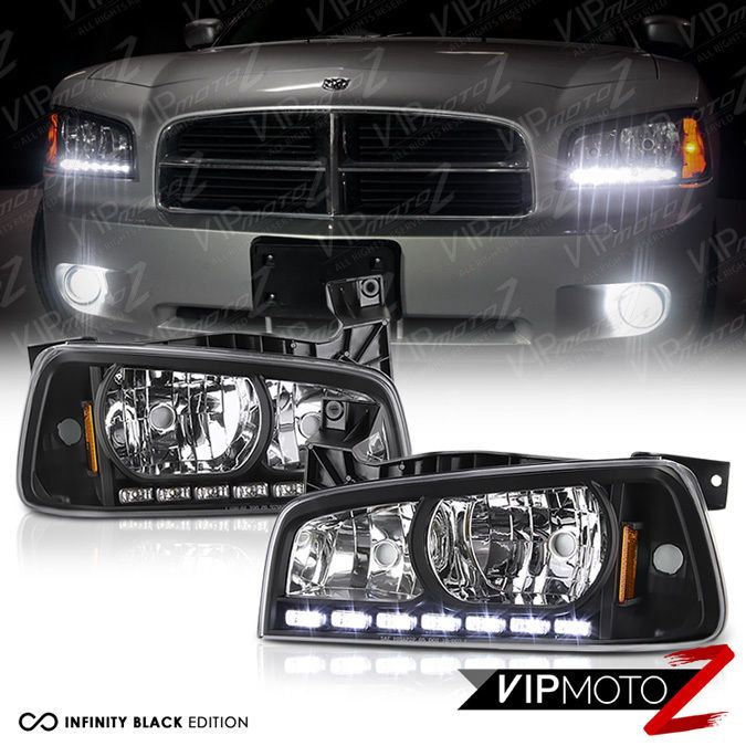 06 10 Dodge Charger Direct Fit Black Led Drl Upgrade Replacement Headlight Set Dodge Charger Dodge Replacement Headlights