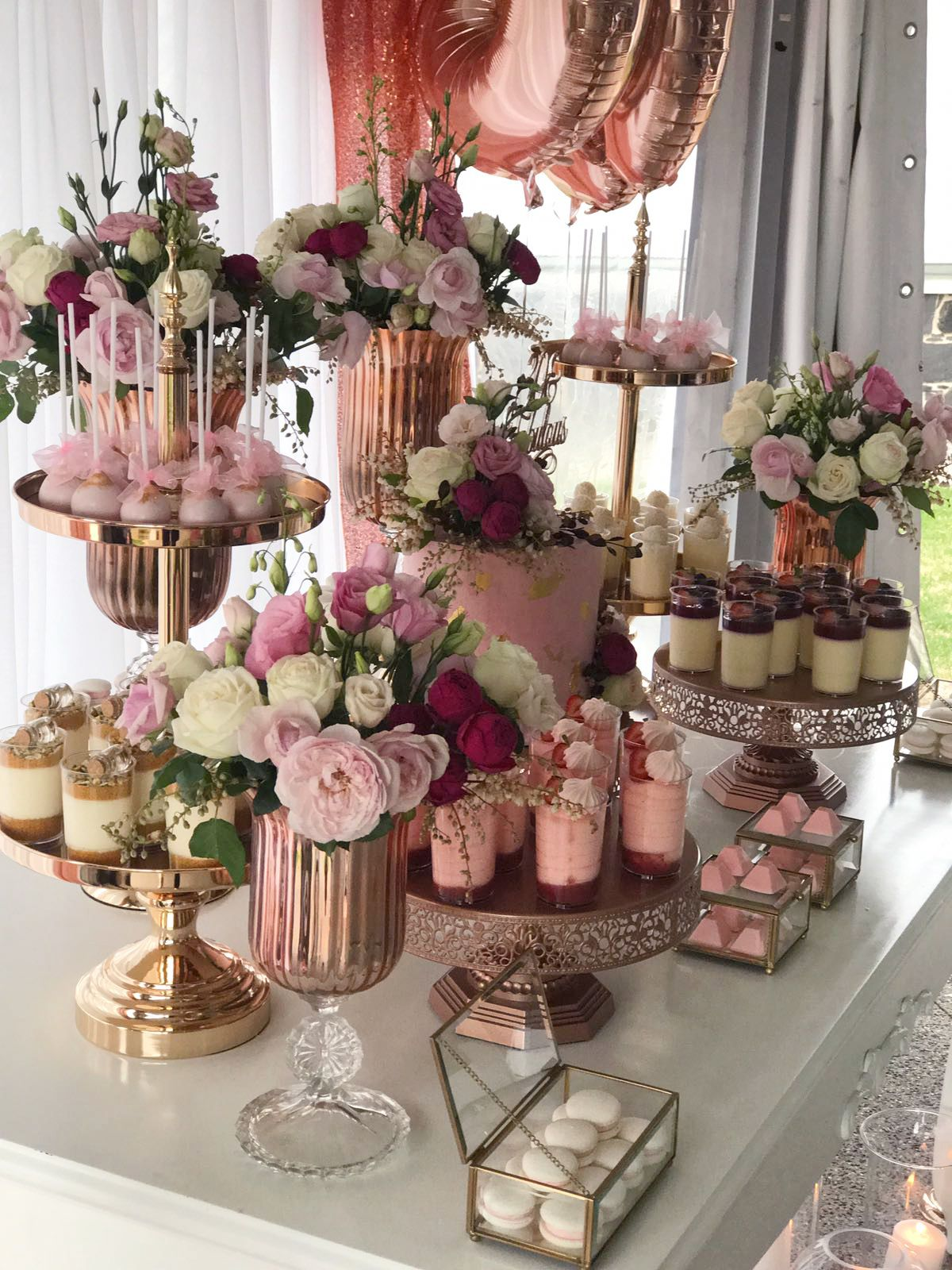 Fabulous Pink And Gold 30th Birthday Party Dessert Table