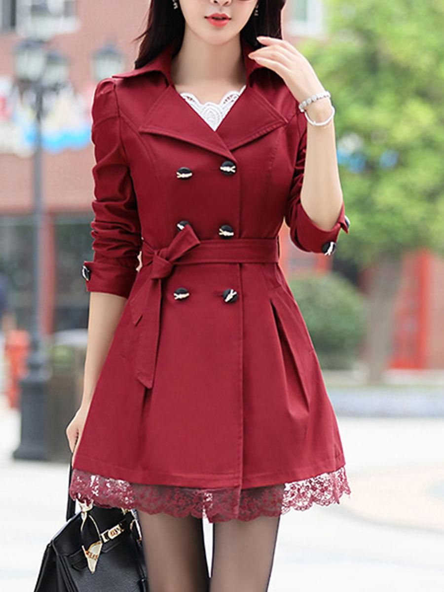 Lapel double breasted plain trench coat pinterest trench