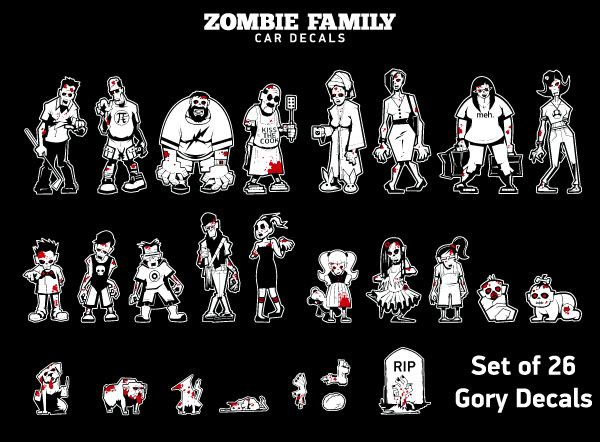 Zombie Family Car Decals Additional Image Birthday And Christmas - Family car sticker decalsfamily stickers family car stickers