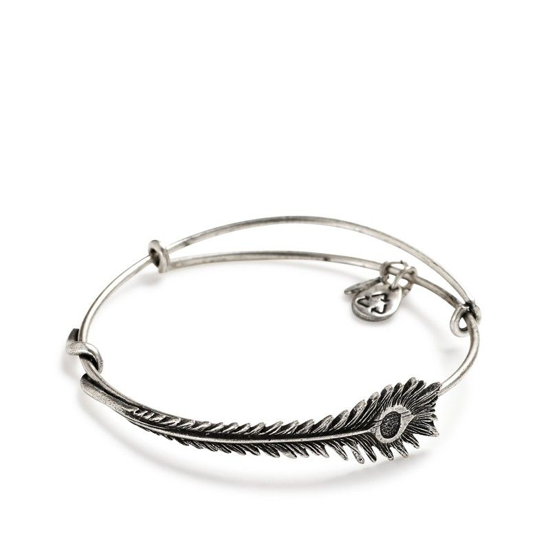 Peacock Feather bangle in Russian silver | Alex and Ani