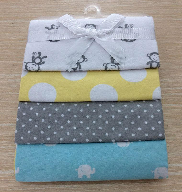 100 Cotton Flannel Baby Blanket 4pcs Pack Receiving Newborn Colorful Baby Bedsheet Supersoft Blanket 76x76cm Flannel Baby Blankets Baby Swaddle Blanket