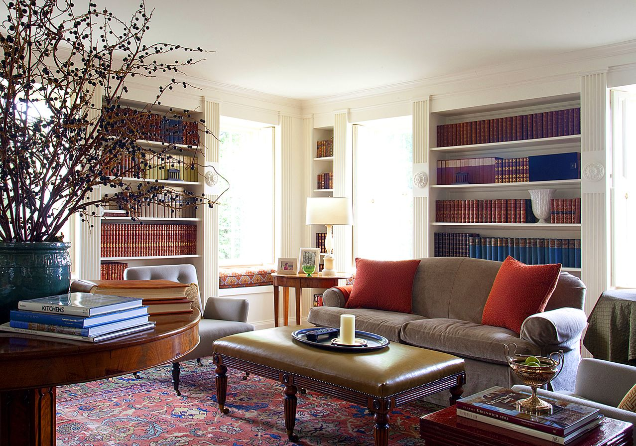 Living room with red oriental rug | entire living room image ...