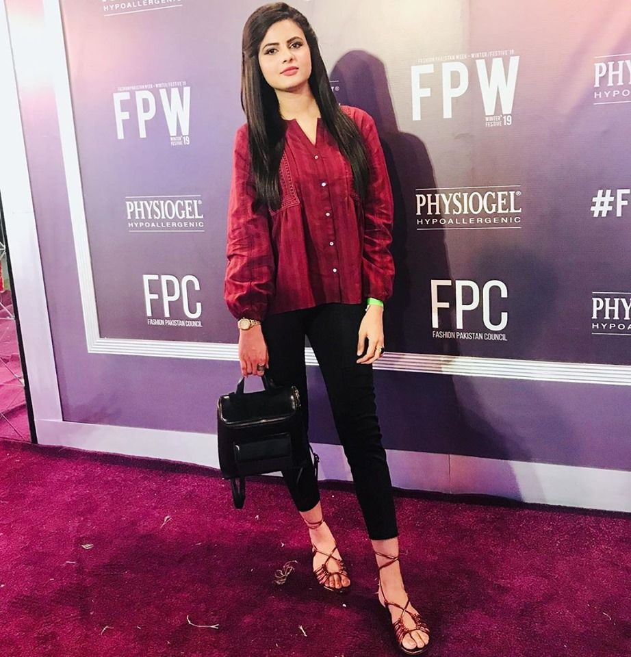 News Anchor MahumZahid at Fpw19 Leather jacket, Red