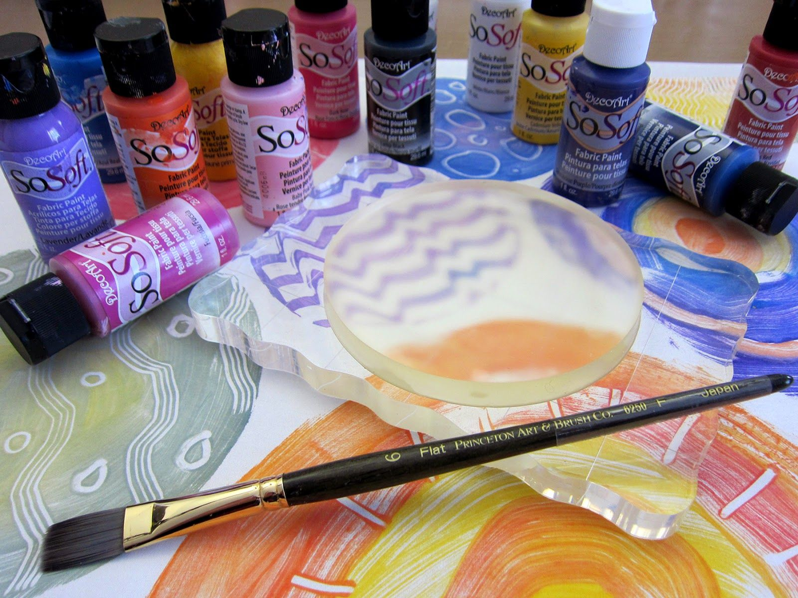 Stamping With Round Gelli Plates On A Silk Scarf Gelli Plate Printing On Fabric Printed Plates