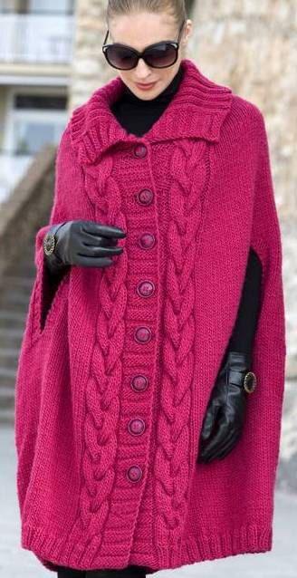 Poncho - abrigo, ropa de invierno, poncho de punto, ideas para regalos, diseño vintage, abrigo de punto