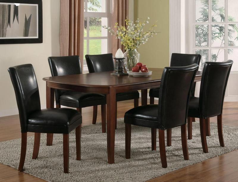 7 pc cherry wood dining set leaf table parson chairs black leather rh pinterest com