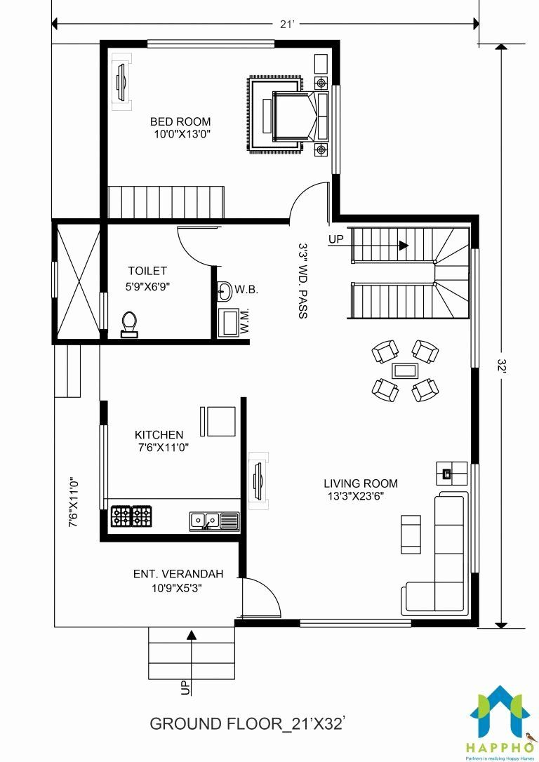20 X 32 House Plans Beautiful 1 Bhk Floor Plan For 21 X 32 Feet Plot 672 Square Feet In 2020 Modern House Floor Plans House Floor Plans Garage Floor Plans