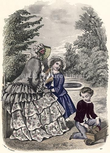 An old hand tinted fashion illustration depicting a mother and her two children at play in the park.
