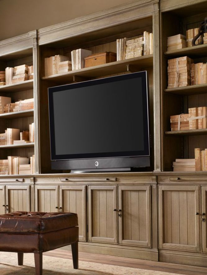 Rh Library Media System Built In Tv Wall Unit Cabinet