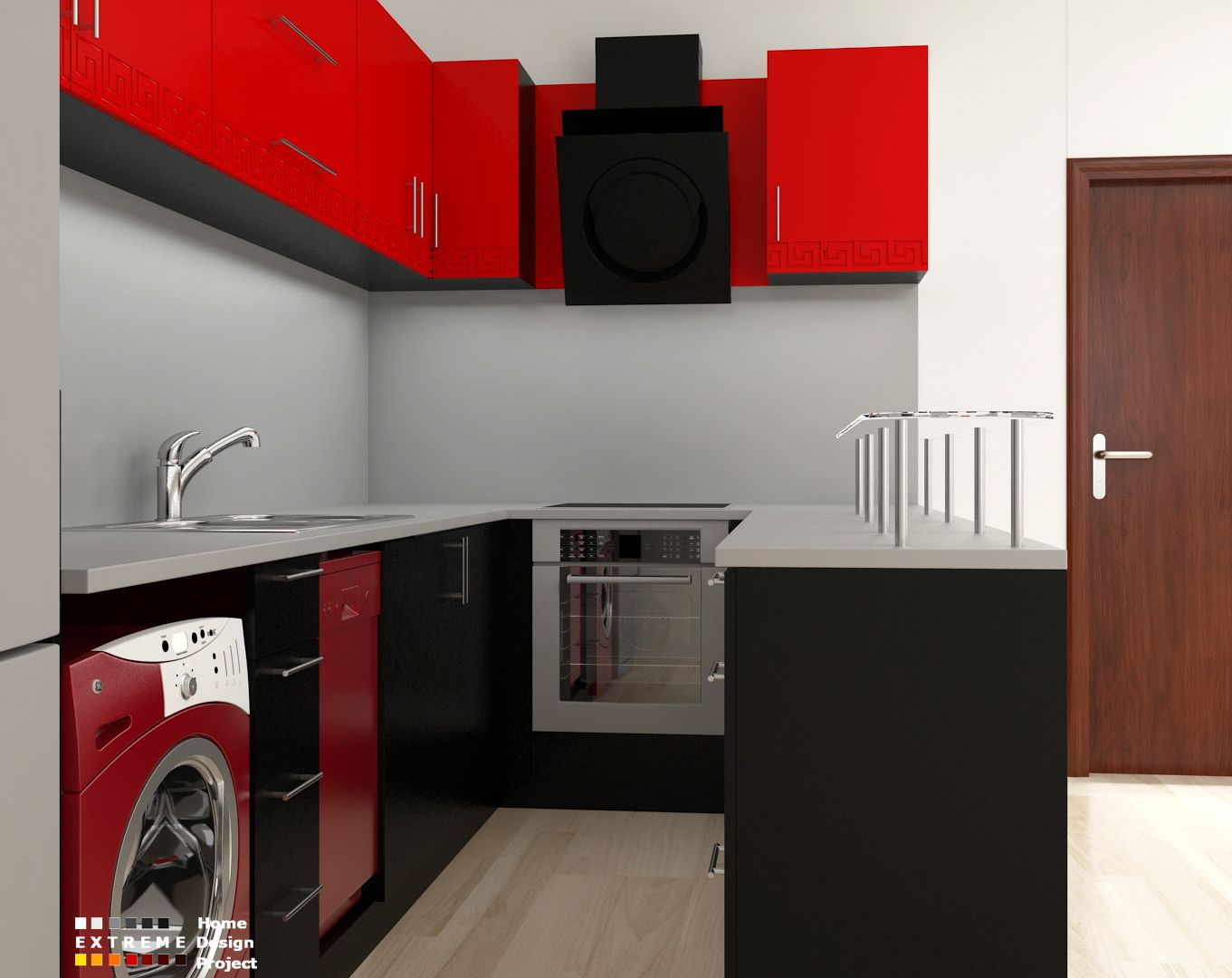 Red black kitchen | Extreme design | Pinterest