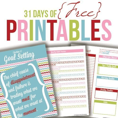 31 Days of Free Printables Free printables, Organizing and Planners