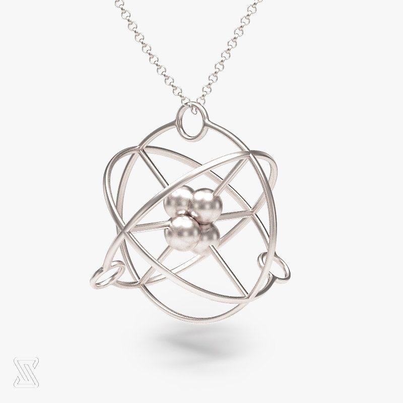 Science Jewelry Silver Atom Necklace