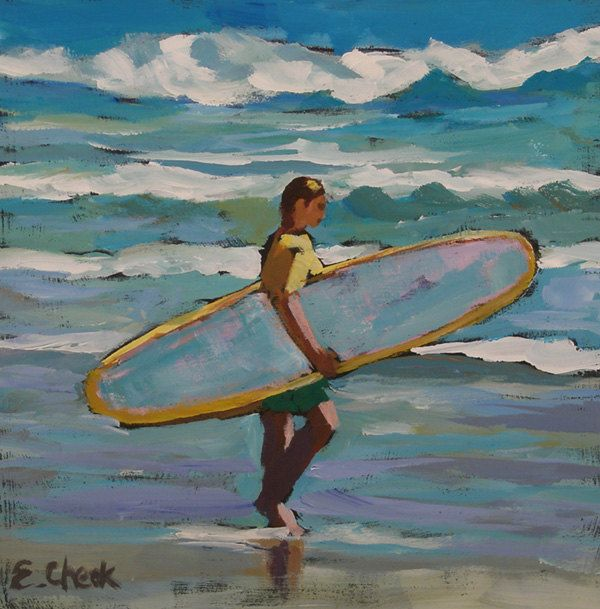 October Swell surfer small beach painting by emilycheekart on Etsy