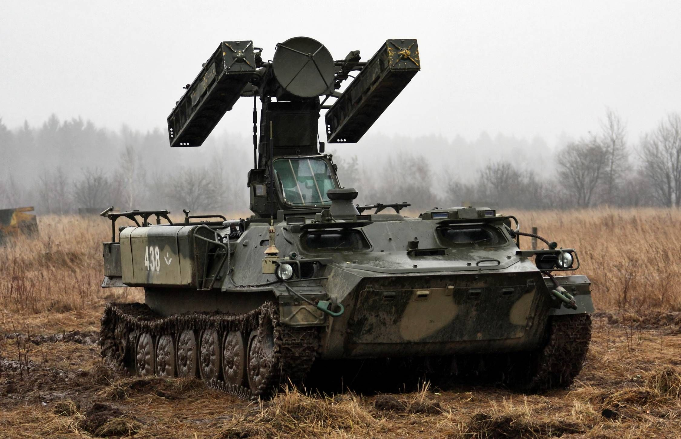 "SAM 9A34 Strela-10 SA-13 ""Gopher"" in firing position."