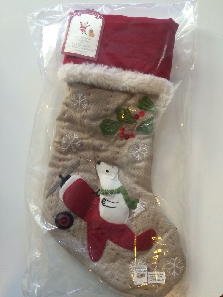 Pottery Barn Kids Woodland Quilted Christmas Stocking Red