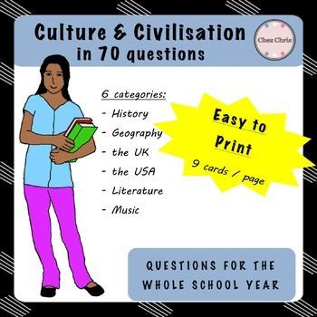 Engage your students in this year-long activity: at the end of each lesson, give them a question as a homework. This question will be corrected at the beginning of the next lesson. Easy, isn't it?With these questions, you will be able to give them cultural basics about the English speaking world, in different fields: history, geography (capitals), the UK, the USA, literature and music.The .zip file contains 6 pdf (one for each category).