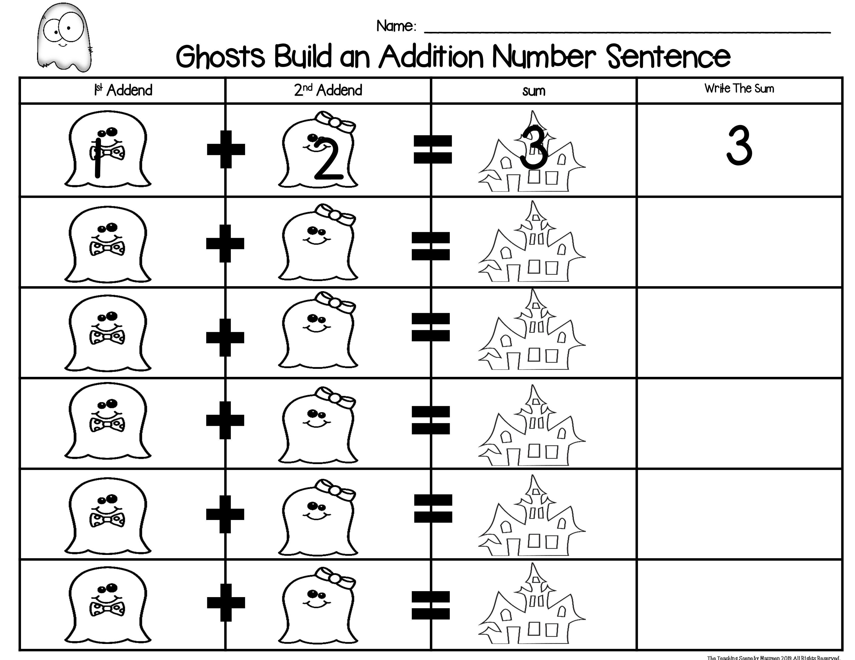Ghosts Build A 2 Addend Number Sentence Math Center Game