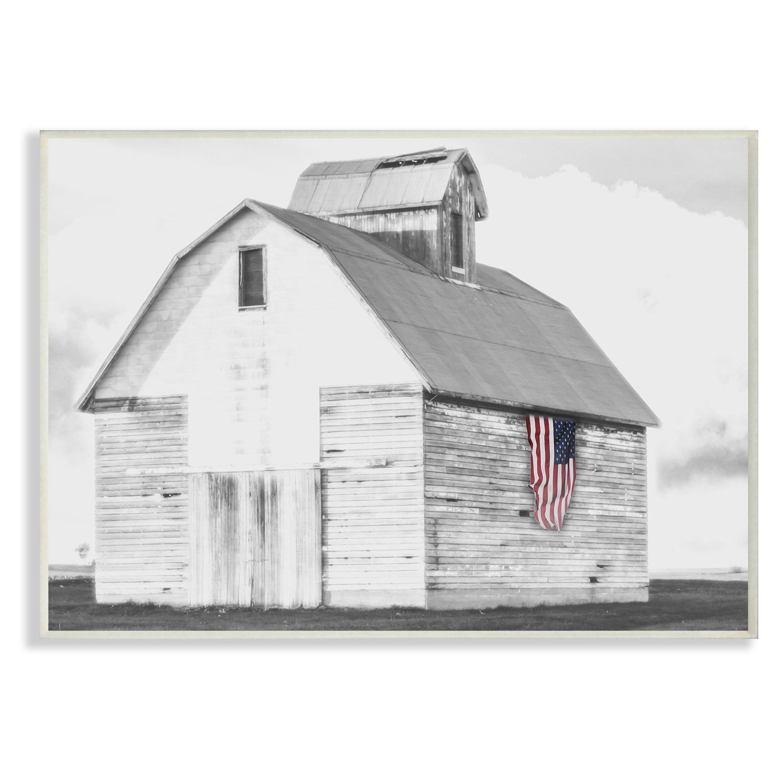 1a9b0061cc8f The Stupell Home Decor Collection Rustic Barn with American Flag Wall Art