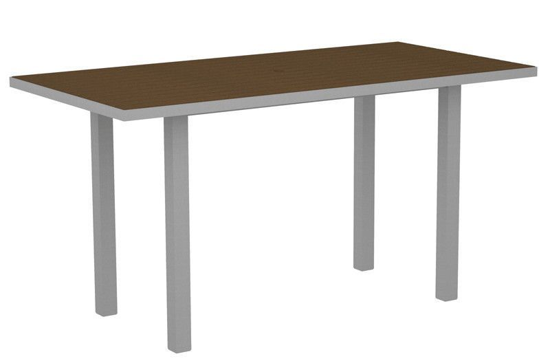 "Polywood ATR3672FASTE Euro 36"" x 72"" Counter Table in Textured Silver Aluminum Frame / Teak"