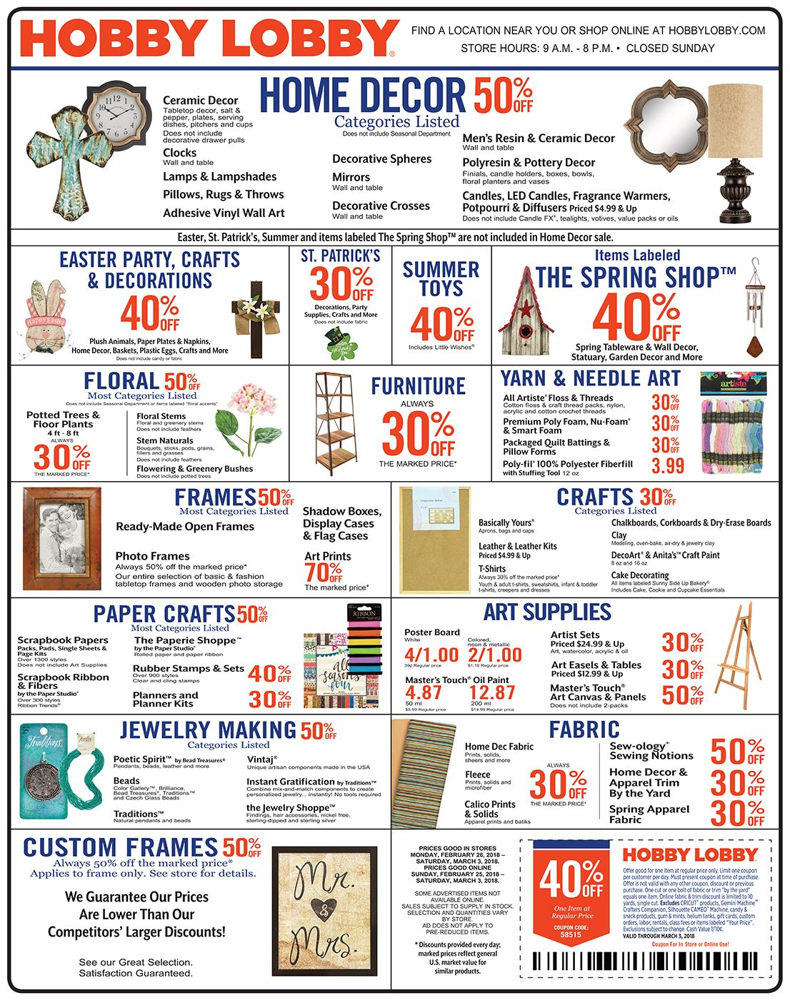 Hobby Lobby Weekly Ad Prices Good Through March 3rd 2018