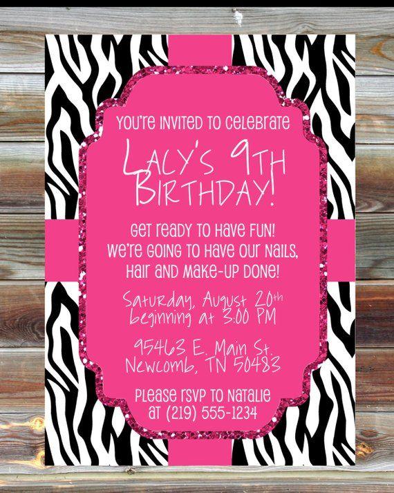 Printable Custom Pink And Zebra Birthday Invitation Diva Girl