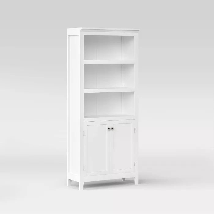 72 Carson 5 Shelf Bookcase With Doors Threshold Shelves 5 Shelf Bookcase Tall Cabinet Storage