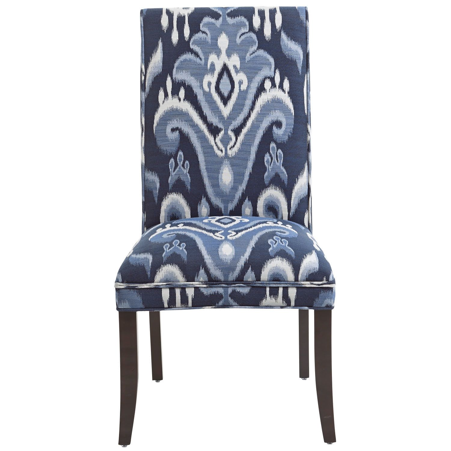 Angela Deluxe Dining Chair Indigo Ikat Chair Traditional Dining Chairs Traditional Chairs #pier #one #living #room #chairs