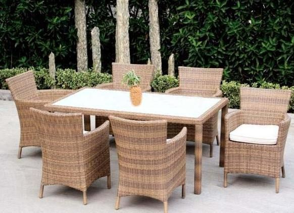 Dining Room The Outdoor Wickerrattan Set With Fabric Cushions Wf 6068 Pertaining To Wicker