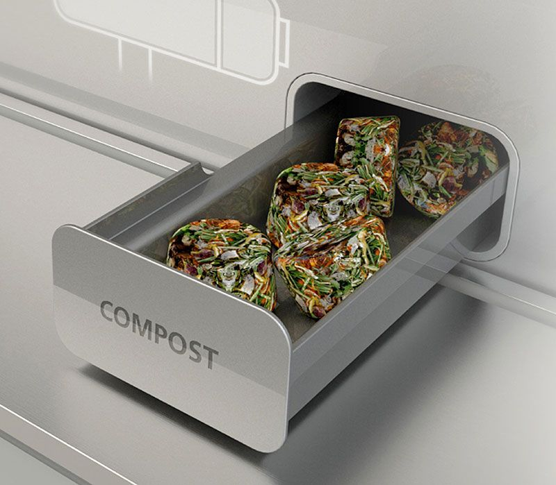 Compost Your Food Scraps In GE's Home 2025, it's easy to turn your food disposal into compost mode and create compost pellets.