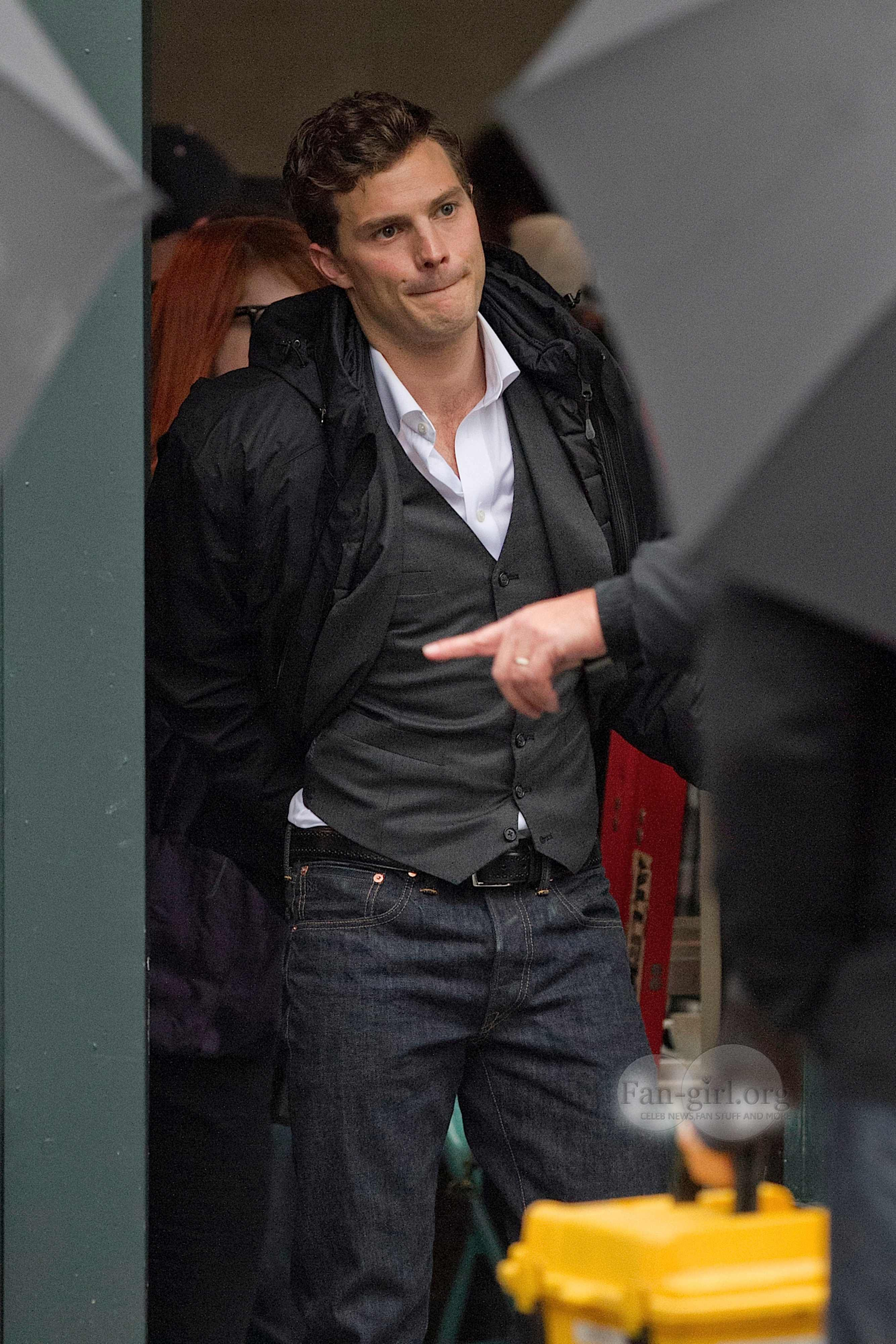 Jamie On The Set Of Fifty Shades Of Grey Christian Grey