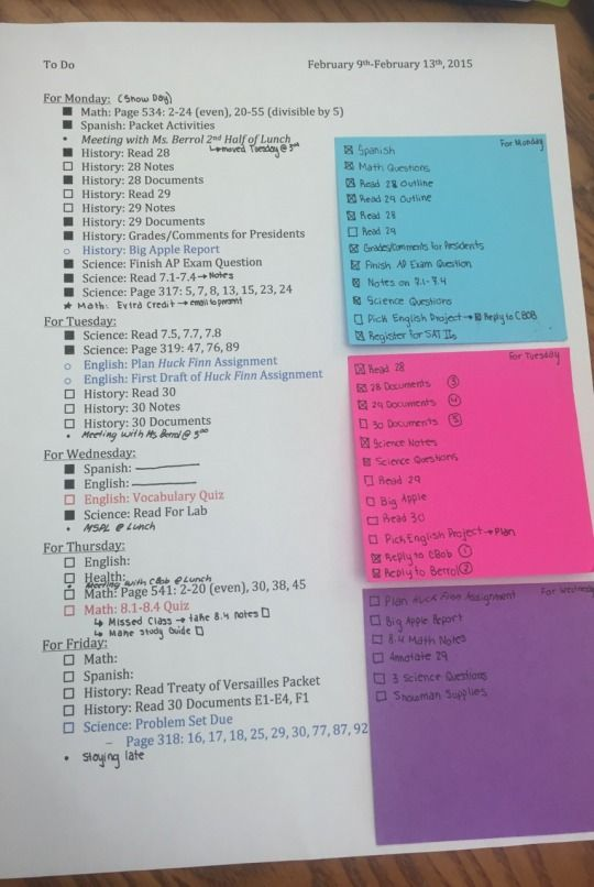 Post it note to do lists are handy to move e.g. Have in diary or on wall at home depending where you are studying that day