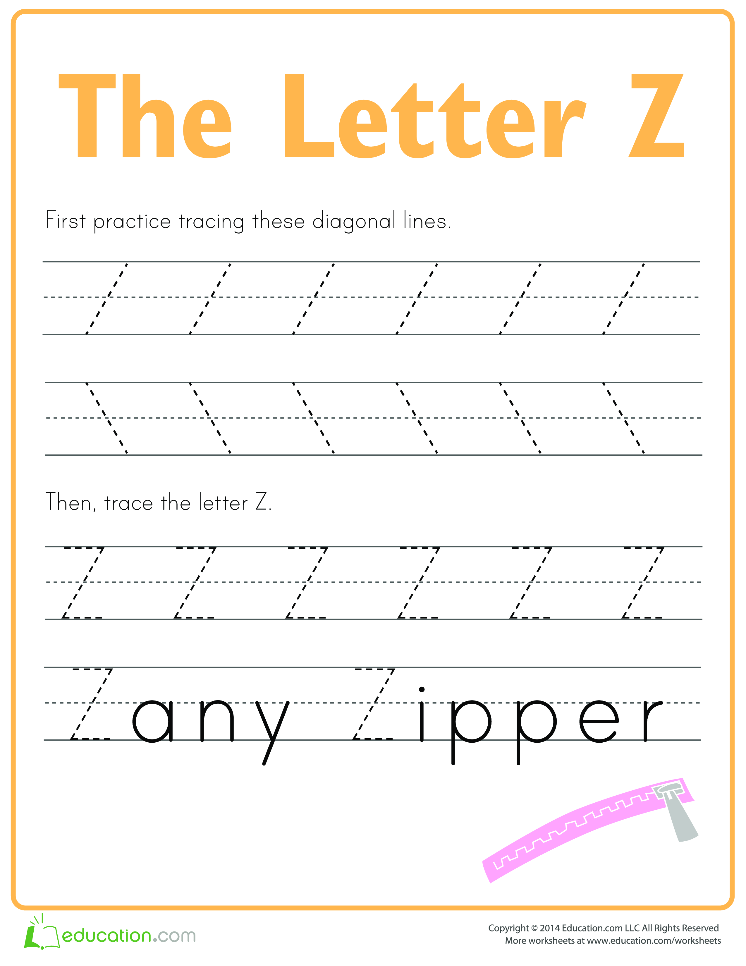 Learn To Write Letter Z