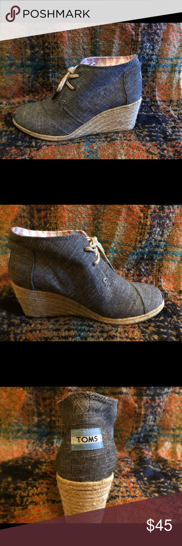 TOMS wedges Super cute TOMS wedges! Worn once - like new! Toms Shoes Ankle Boots & Booties #tomwedges TOMS wedges Super cute TOMS wedges! Worn once - like new! Toms Shoes Ankle Boots & Booties #tomwedges