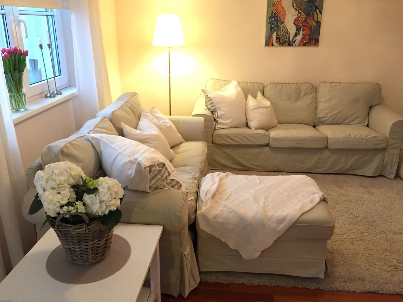 beige sofa decorating ideas chair and a half beds my ikea ektorp tygelsjö living room