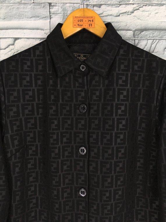 989b7485 Vintage 90's FENDI Zucca Long Jacket Medium Fendi Jeans Monogram ...